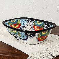 Ceramic serving bowl, 'Raining Flowers' - Hand-Painted Talavera Ceramic Serving Bowl from Mexico