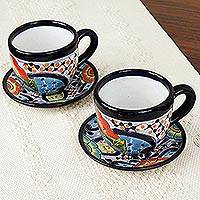 Ceramic cups and saucers, 'Raining Flowers' (set for 2) - Talavera Style Ceramic Cups and Saucers from Mexico (Pair)