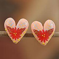 Porcelain button earrings, 'Path to Desire' - Hand-Painted Porcelain Button Earrings from Mexico