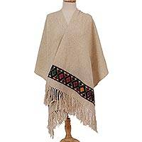 Wool shawl, 'Ivory Light' - Handwoven Geometric Wool Shawl in Ivory from Mexico