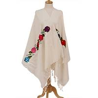 Cotton shawl, 'Summertime Fun' - Floral Embroidered Cotton Shawl from Mexico