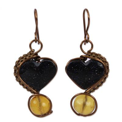 Heart-Shaped Amber and Aventurine Dangle Earrings