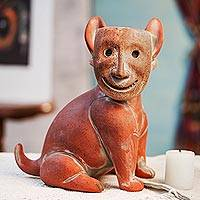 Ceramic sculpture, 'Masked Dog'