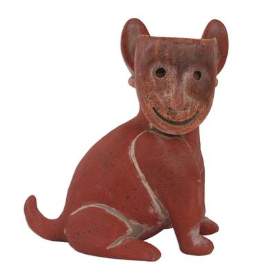 Ceramic sculpture, 'Masked Dog' - Handmade Rustic Ceramic Dog Sculpture from Mexico