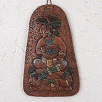 Ceramic plaque, 'Mayan Governor' - Handcrafted Mayan-Themed Ceramic Plaque from Mexico