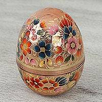 Copper decorative jar, 'Spring Egg' - Hand-Painted Floral Copper Decorative Jar from Mexico