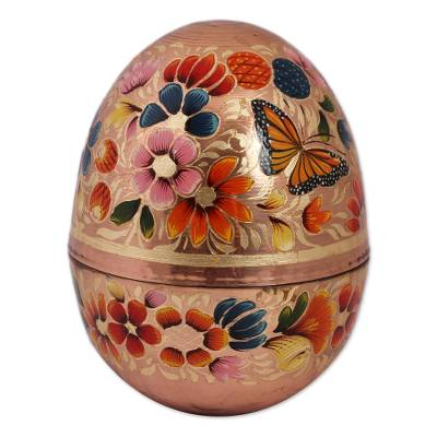 Hand-Painted Floral Copper Decorative Jar from Mexico