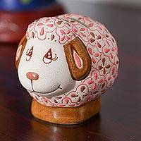 Ceramic coin bank, 'Sheepish' - Ivory and Pink Floral Motif Ceramic Sheep Coin Bank