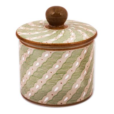 Green Striped Ceramic Cylindrical Decorative Jar