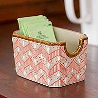 Ceramic sugar packet holder, 'Sweet Chevron' - Handcrafted Pink Chevron Motif Ceramic Sugar Packet Holder