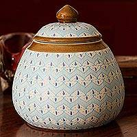 Ceramic decorative jar, 'Chevron Tears' - Blue Chevron Motif Ceramic Round Decorative Jar