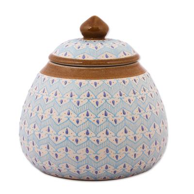 Blue Chevron Motif Ceramic Round Decorative Jar