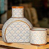 Ceramic decanter with cup, 'Downy Dew' (2-piece set) - Grey and Beige Ceramic Decanter with Cup Lid (2-Piece Set)