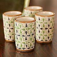 Ceramic tequila cups, 'Dawn and Dale' (set of 4) - Green and Grey Floral Motif Ceramic Tequila Cups (Set of 4)