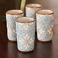 Ceramic tequila cups, 'Sky Dance' (set of 4) - Blue and White Floral Motif Ceramic Tequila Cups (Set of 4)