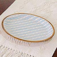Ceramic platter, 'Cloud Crossing in Blue' - Handcrafted Blue and Ivory Striped Ceramic Platter
