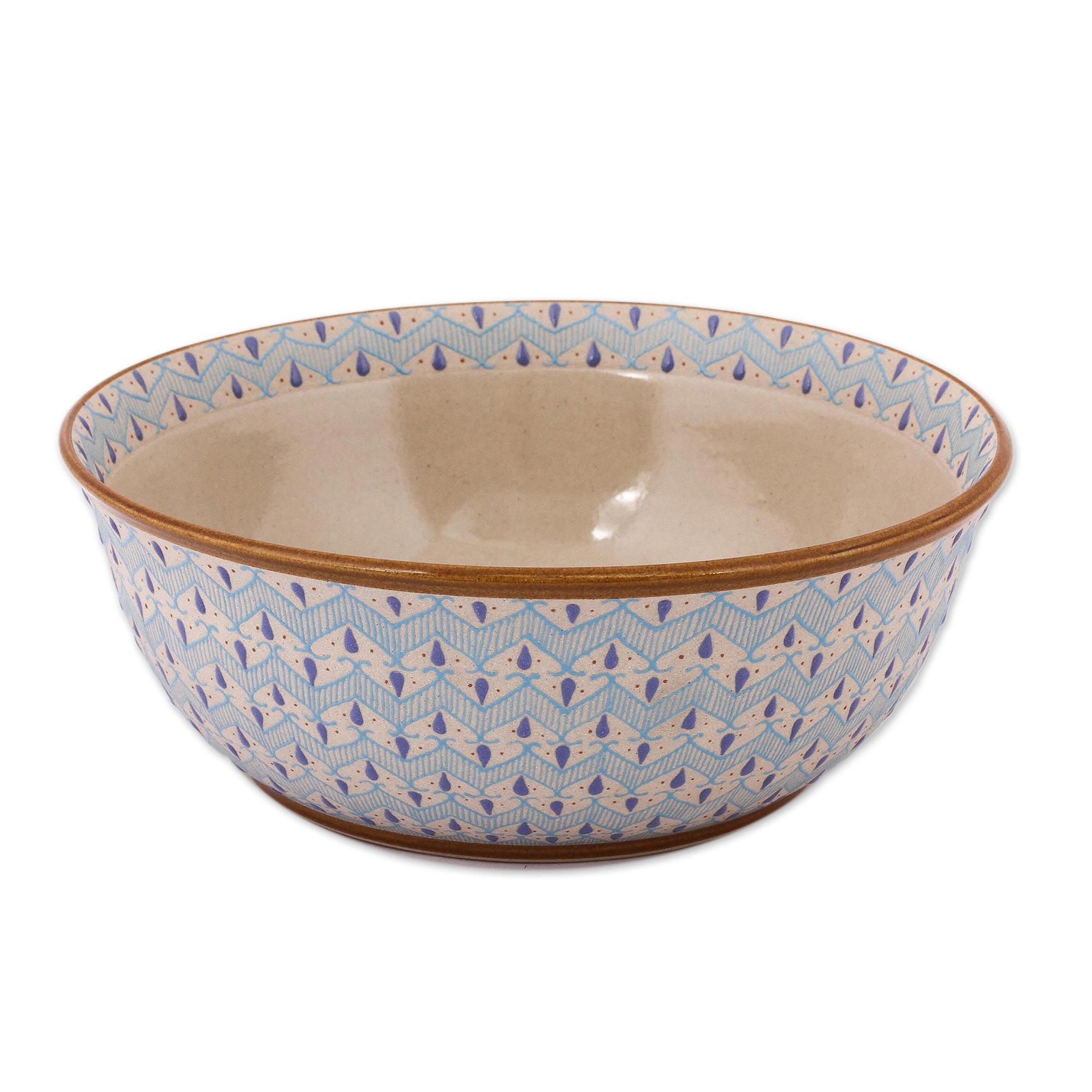 Unicef Market Handcrafted Blue Chevron Motif Ceramic Salad Or Serving Bowl Chevron Tears