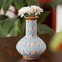 Ceramic vase, 'Chevron Tears' - Handcrafted Blue and Ivory Chevron Motif Ceramic Flower Vase