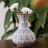 Ceramic vase, 'Web of Dew' - Handcrafted Blue and Grey Patterned Ceramic Flower Vase