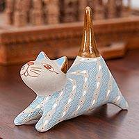 Ceramic ring holder, 'Cloud Crossing Cat' - Handcrafted Blue and Ivory Striped Ceramic Cat Ring Holder