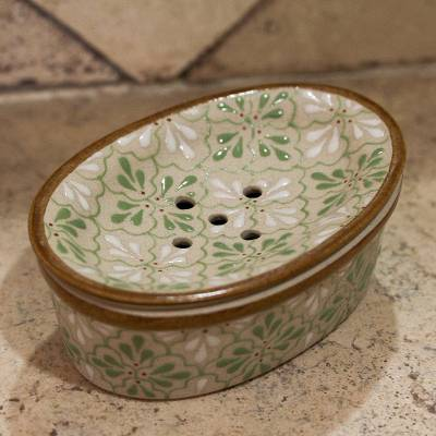 Ceramic soap dish, 'Sweet Meadow' - Handcrafted Green and White Floral Motif Ceramic Soap Dish
