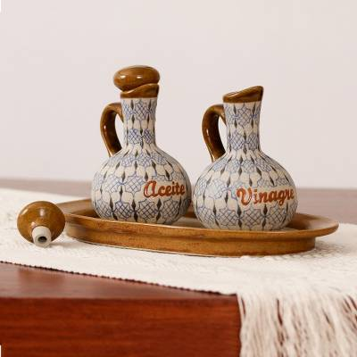 Ceramic oil and vinegar set, 'Web of Dew' (3-piece set) - Blue and Grey Ceramic Oil and Vinegar 3-Piece Set with Tray