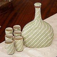 Ceramic tequila decanter and cups, 'Cloud Crossing in Green' (7-piece set) - Green Ceramic Tequila Decanter and Cups 7-Piece Set