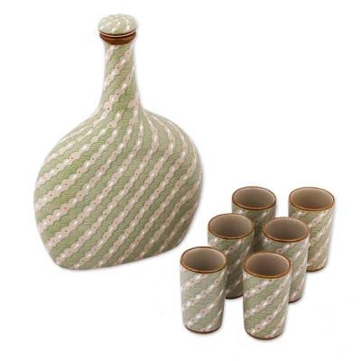 Green Ceramic Tequila Decanter and Cups 7-Piece Set