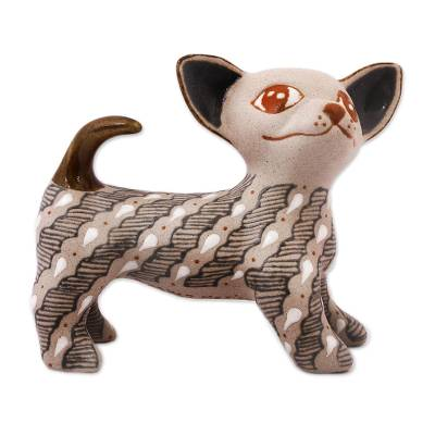 Handcrafted Grey and Beige Ceramic Chihuahua Dog Figurine