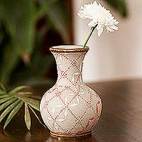 Ceramic vase, 'Windmill Trellis Bloom' - Paprika Red and White Trellis Motif Ceramic Fluted Vase