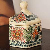 Ceramic decorative jar, 'Garden Walk' - Colorful Floral Talavera-Style Ceramic Decorative Jar