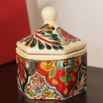 Ceramic decorative jar, 'Tradition and Color' - Hand-Painted Talavera-Style Ceramic Decorative Jar