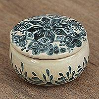 Ceramic decorative jar, 'Profound Blue' - Blue Talavera Ceramic Decorative Jar from Mexico