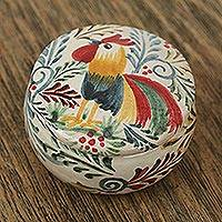 Ceramic decorative jar, 'Free Rooster' - Rooster Talavera-Style Ceramic Decorative Jar from Mexico
