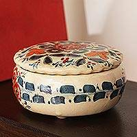 Ceramic decorative jar, 'Talavera Mystery' - Talavera Ceramic Decorative Jar Crafted in Mexico