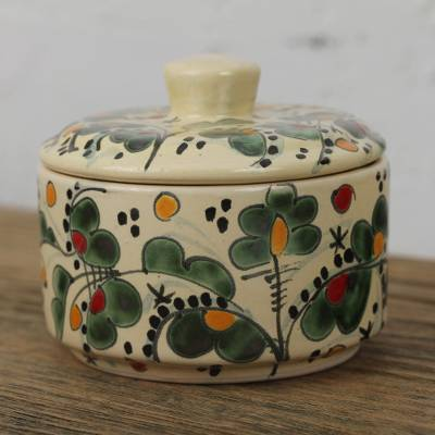 Ceramic decorative jar, 'Beautiful Leaves' - Leaf Motif Talavera Ceramic Decorative Jar from Mexico