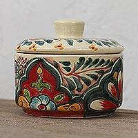 Ceramic decorative jar, 'Talavera Memory' - Floral Talavera Ceramic Decorative Jar from Mexico
