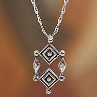 Sterling silver pendant necklace, 'God's Eyes' - Sterling Silver Ojo de Dios Pendant Necklace from Mexico