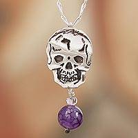 Agate and amethyst pendant necklace, 'Transition' - Agate and Amethyst Skull Pendant Necklace from Mexico
