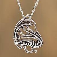Sterling silver pendant necklace, 'Kukulkan' - Sterling Silver Kukulkan Pendant Necklace from Mexico