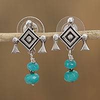 Agate dangle earrings, 'Cradle of Hope' - Agate Ojo de Dios Dangle Earrings from Mexico