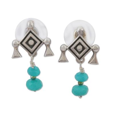 Agate Ojo de Dios Dangle Earrings from Mexico