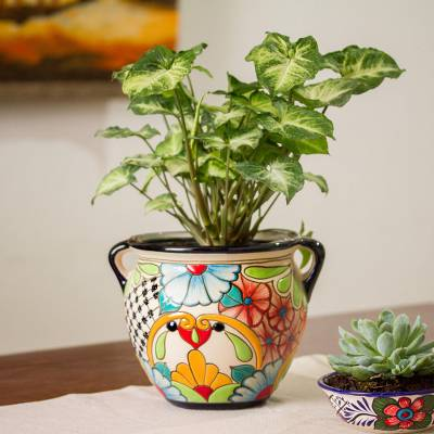 Ceramic flower pot, 'Talavera Majesty' - Floral Talavera-Style Ceramic Flower Pot from Mexico