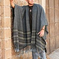 Men's wool blend ruana, 'Dance in the Clouds' - Striped Men's Wool Blend Ruana from Mexico