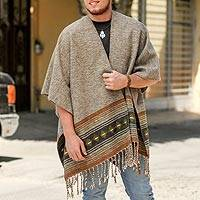 Men's wool blend ruana, 'Sandy Landscape' - Handwoven Wool Blend Men's Ruana in Sand from Mexico