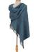 Cotton rebozo shawl, 'Azure Nature' - Handwoven Pacific Blue Cotton Rebozo from Mexico (image 2b) thumbail