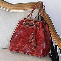 Leather handbag, 'Meditative Beauty in Scarlet' - Handmade Scarlet Leather Handbag from Mexico