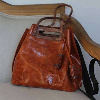 Leather handbag, 'Meditative Beauty in Spice' - Handmade Spice Brown Leather Handbag from Mexico