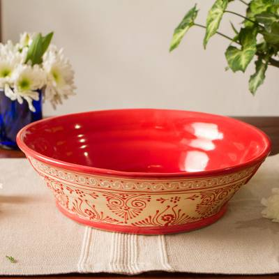 Ceramic serving bowl, 'Red Basin' (12 inch) - Handmade Ceramic Serving Bowl from Mexico (12 in.)