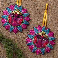 Ceramic ornaments, 'Subliminal Spirit' (pair) - Floral Ceramic Sun Ornaments Crafted in Mexico (Pair)